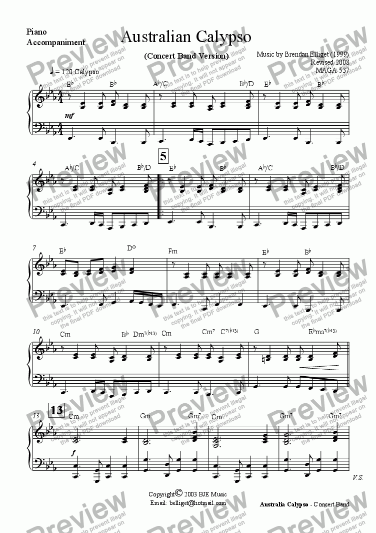 page one of the Piano Accompaniment (Optional) part from Australian Calypso - Concert Band