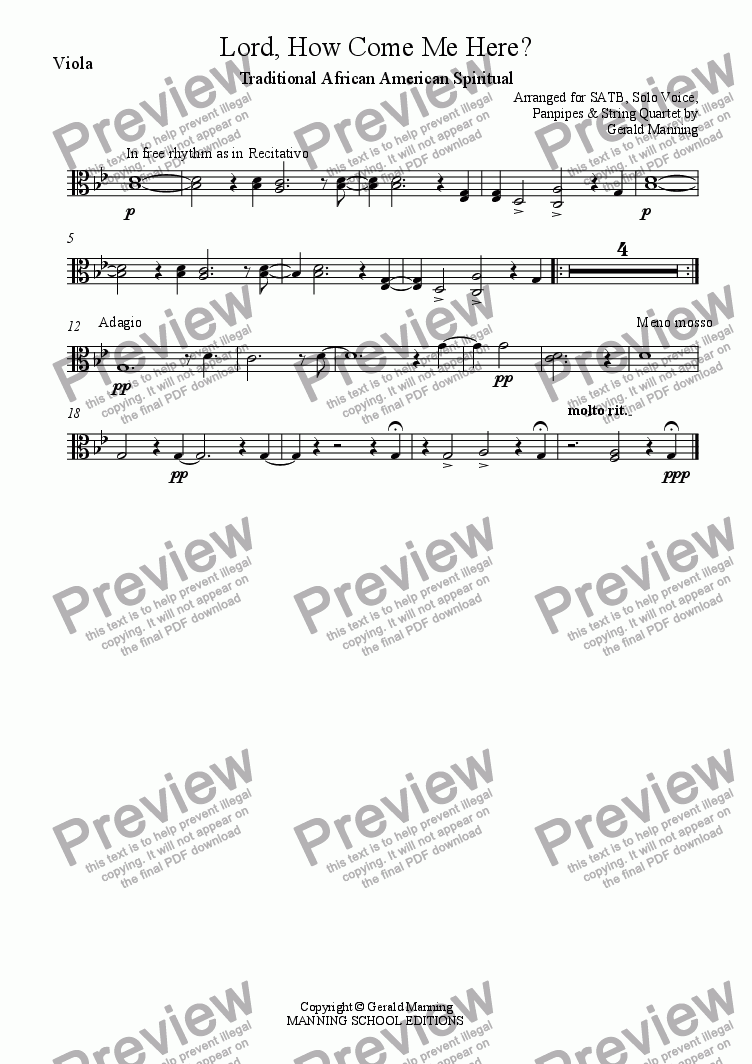 page one of the Viola part from African - American Spirituals - Lord, How Come Me Here? - arranged for SATB, Solo Voice, Panpipes and String Quartet by Gerald Manning