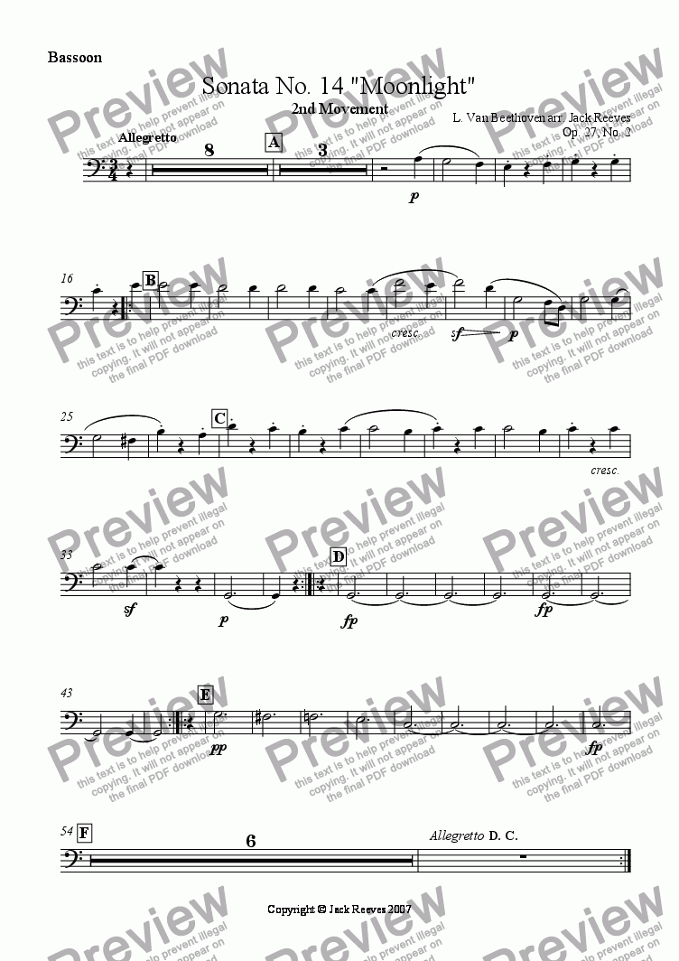 page one of the Bassoon part from Moonlight Sonata - 2nd Movement (C Major) - Wind Band