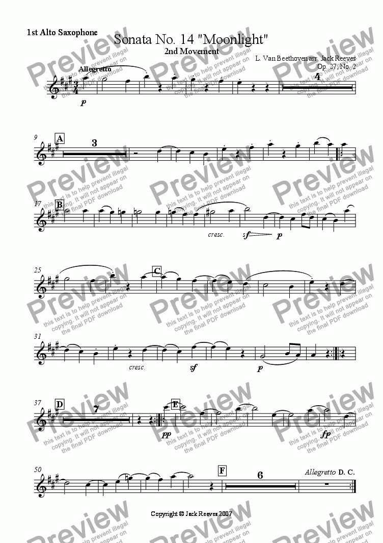 page one of the 1st Alto Saxophone part from Moonlight Sonata - 2nd Movement (C Major) - Wind Band