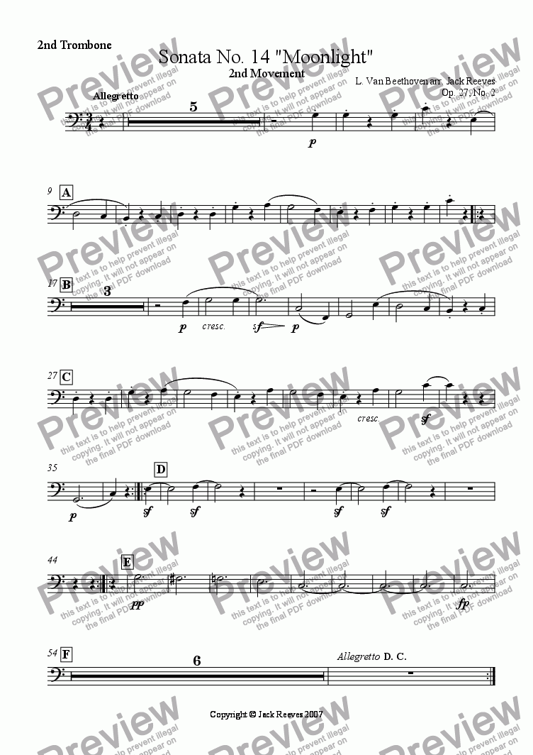 page one of the 2nd Trombone part from Moonlight Sonata - 2nd Movement (C Major) - Wind Band