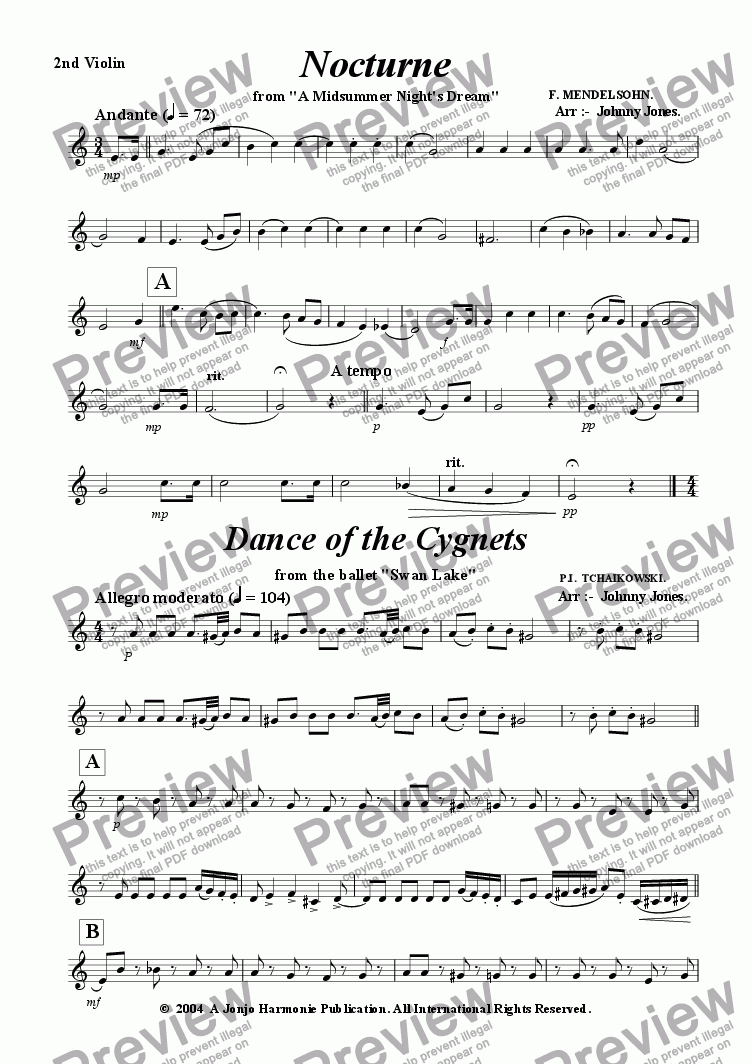 page one of the 2nd Violin part from 6 Classics for 3 Violins