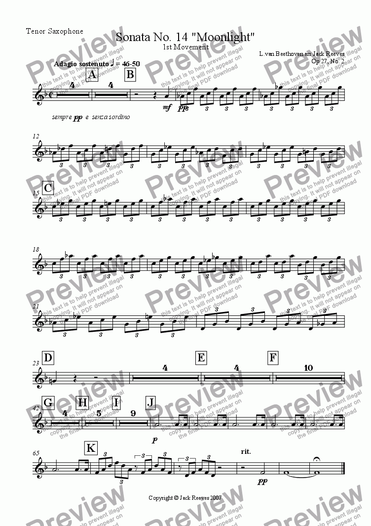 page one of the Tenor Saxophone part from Moonlight Sonata - 1st Movement (C Minor) - Wind Band