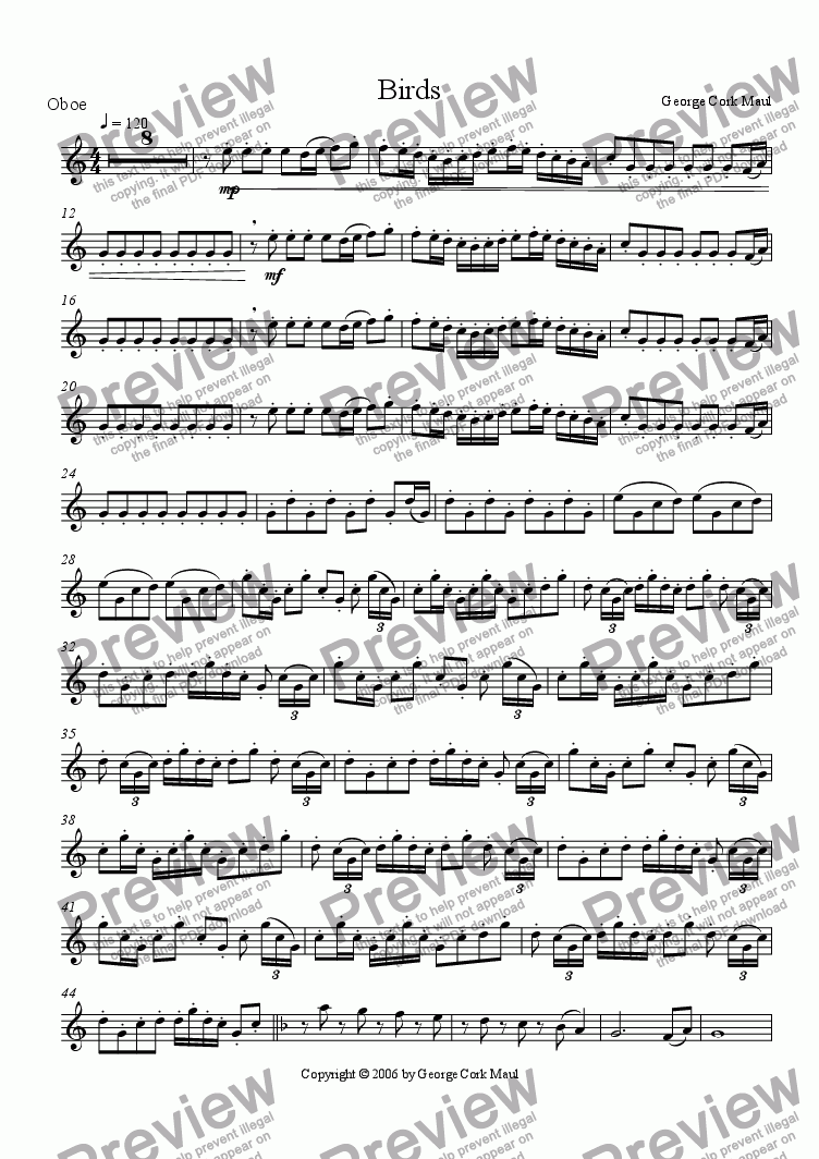 page one of the oboe part from Birds