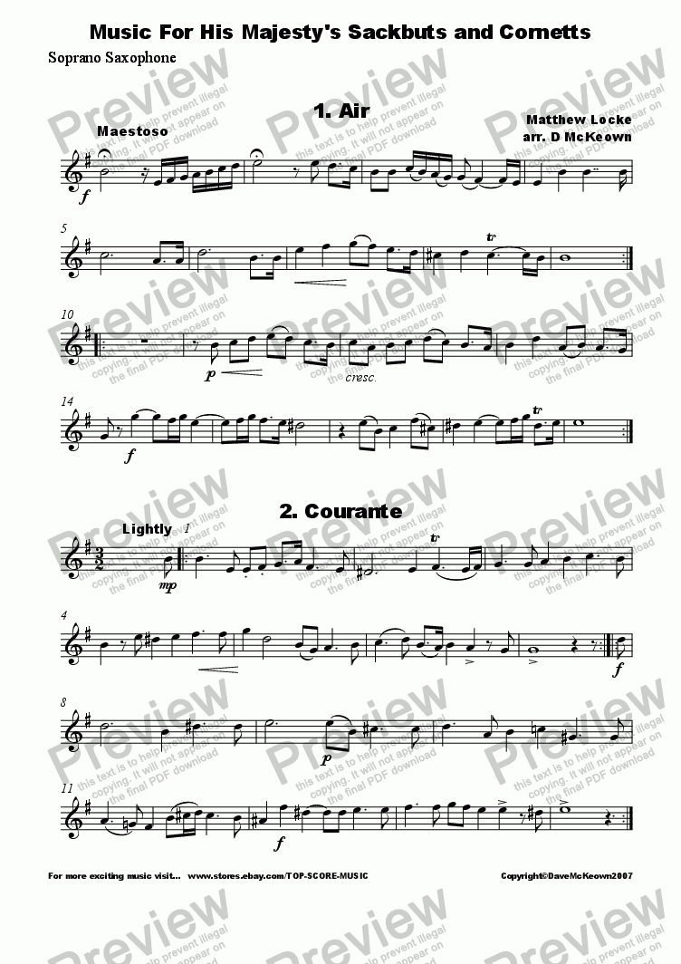 page one of the Soprano Saxophone 1 part from Matthew Locke, Music for His Majesty's Sackbutts and Cornetts for Saxophone Quintet