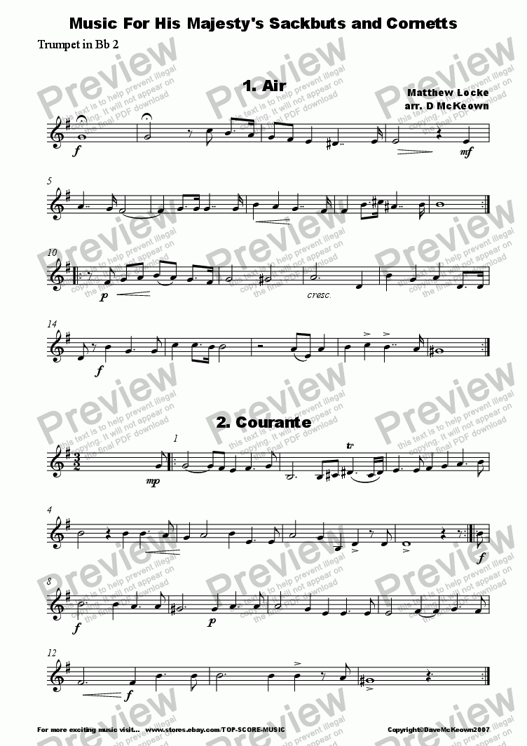 page one of the Trumpet 2 part from Matthew Locke, Music for His Majesty's Sackbutts and Cornetts for Brass Quintet