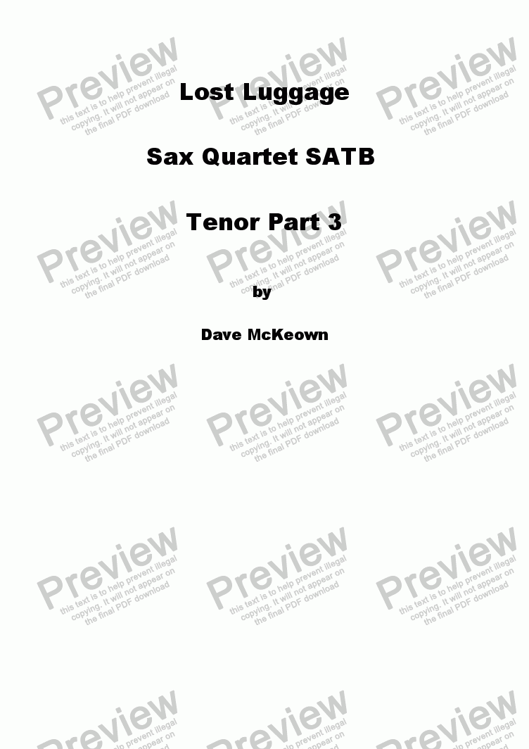 page one of the Tenor Saxophone 3 part from Lost Luggage for Saxophone Quartet
