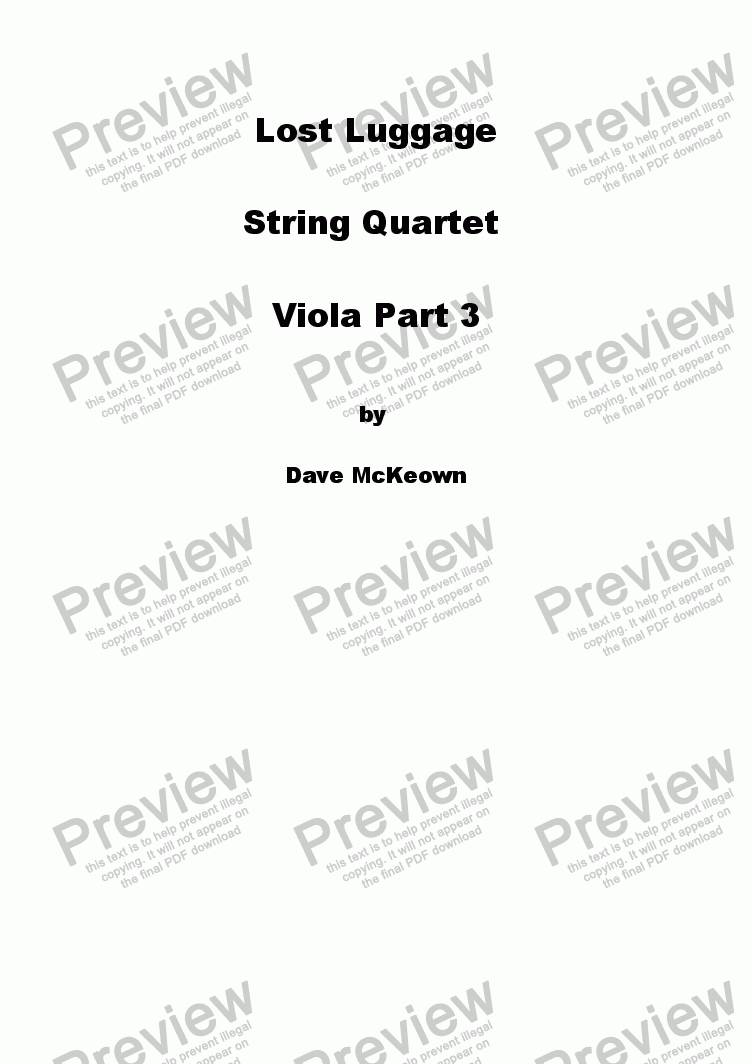 page one of the Viola part from Lost Luggage for String Quartet