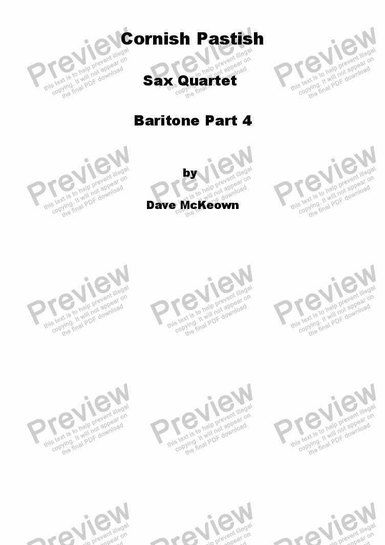 page one of the Baritone Saxophone 4 part from Cornish Pastish for Saxophone Quartet