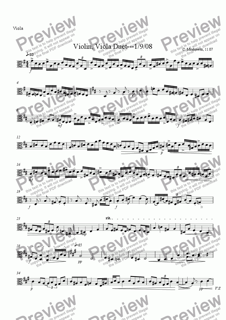 page one of the Viola part from Violin, Viola Duet 1.08