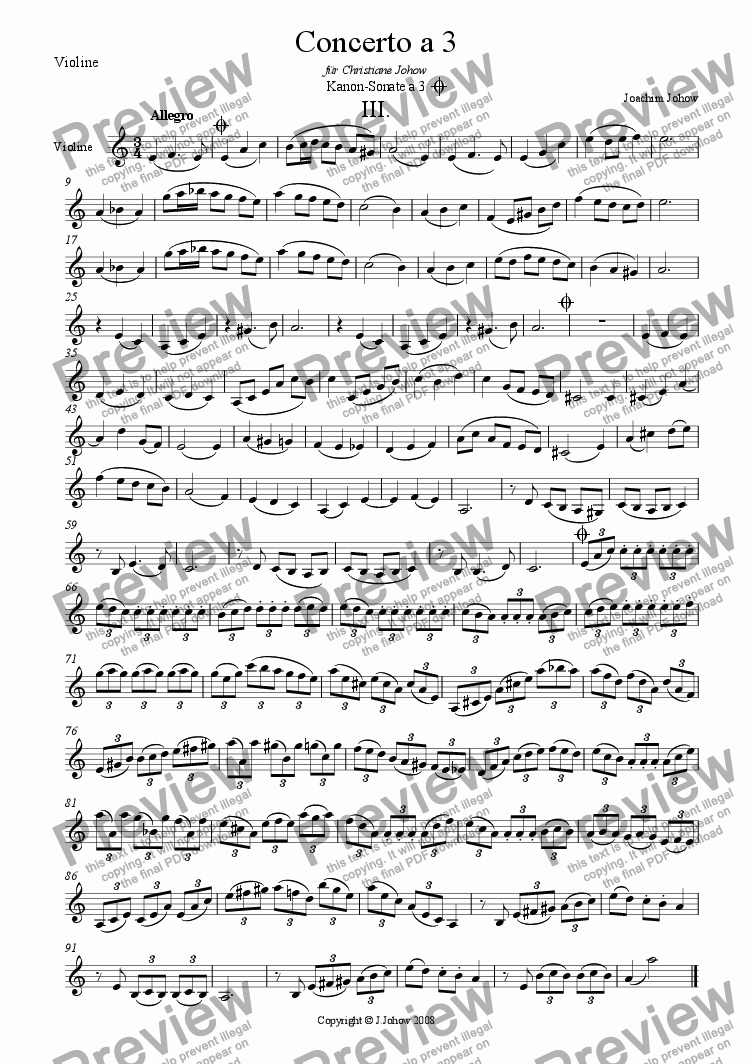 page one of the Vl part from Concerto a 3 Vl, Vla, Vlc, Fl, Cl B(Round3)