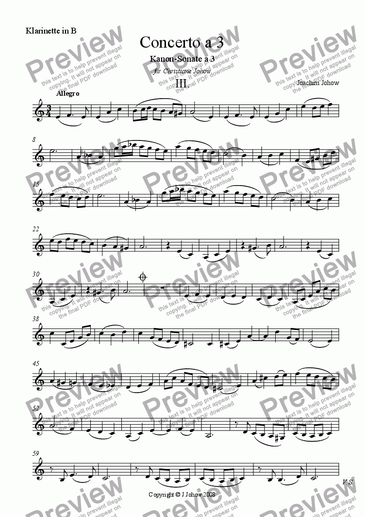 page one of the Cl B part from Concerto a 3 Vl, Vla, Vlc, Fl, Cl B(Round3)