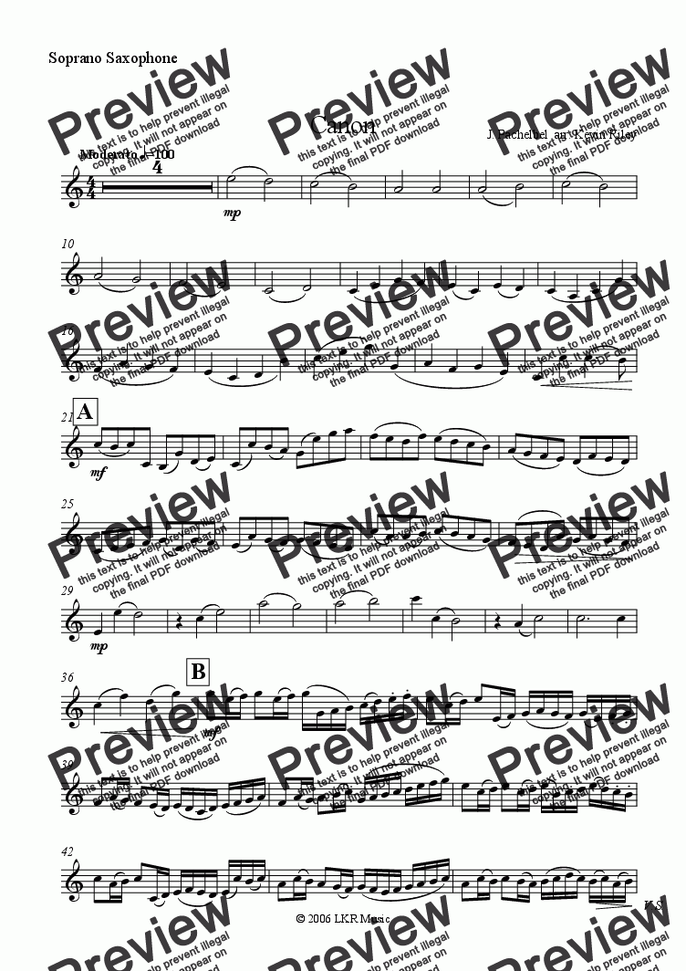 page one of the Soprano Saxophone part from Canon(arranged for Saxophones)