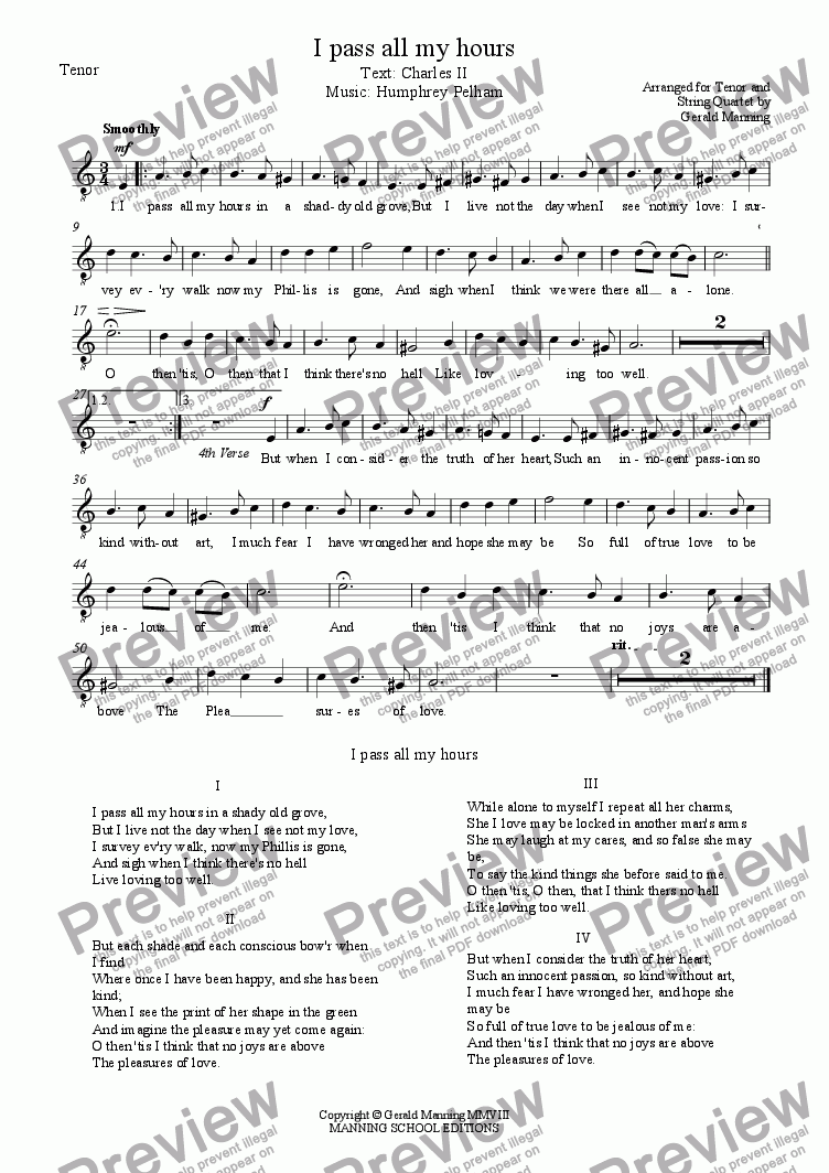 page one of the Tenor part from English Song: Pelham, Humphrey - I pass all my hours - arr. for Tenor & String Quartet by Gerald Manning