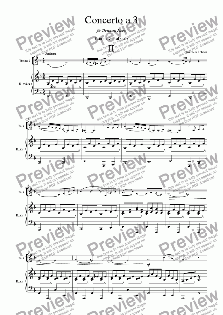 page one of the Piano score part from Concerto a 3 Vlc (Round 2)