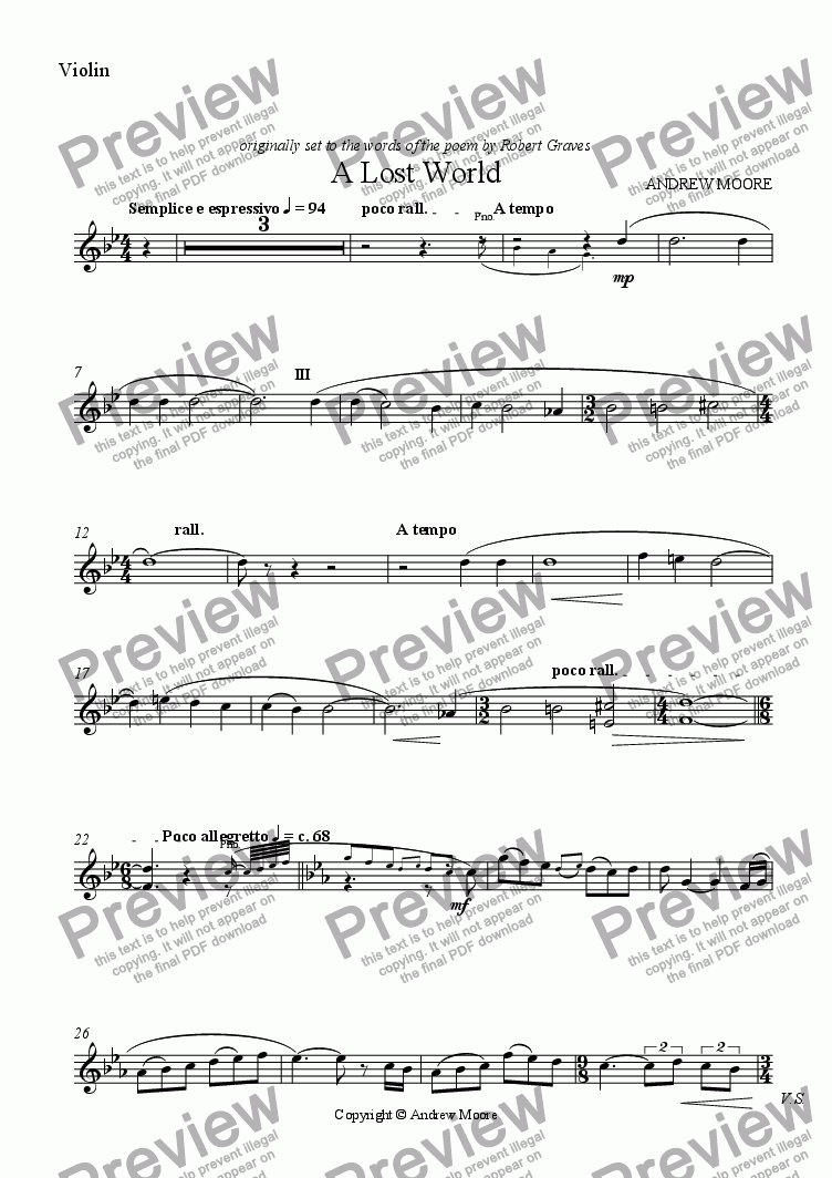 page one of the violin part from 'A Lost World' for Violin & Piano