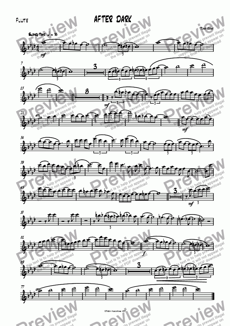 page one of the Flute part from After Dark