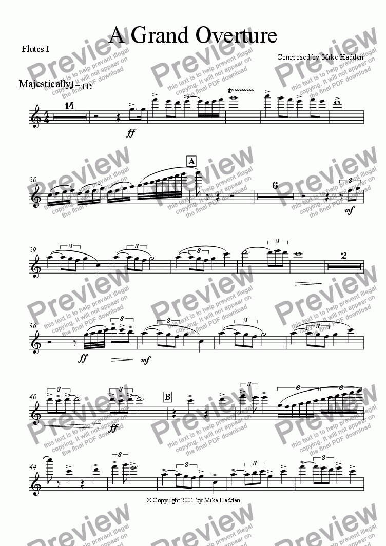 page one of the Flutes I part from A Grand Overture