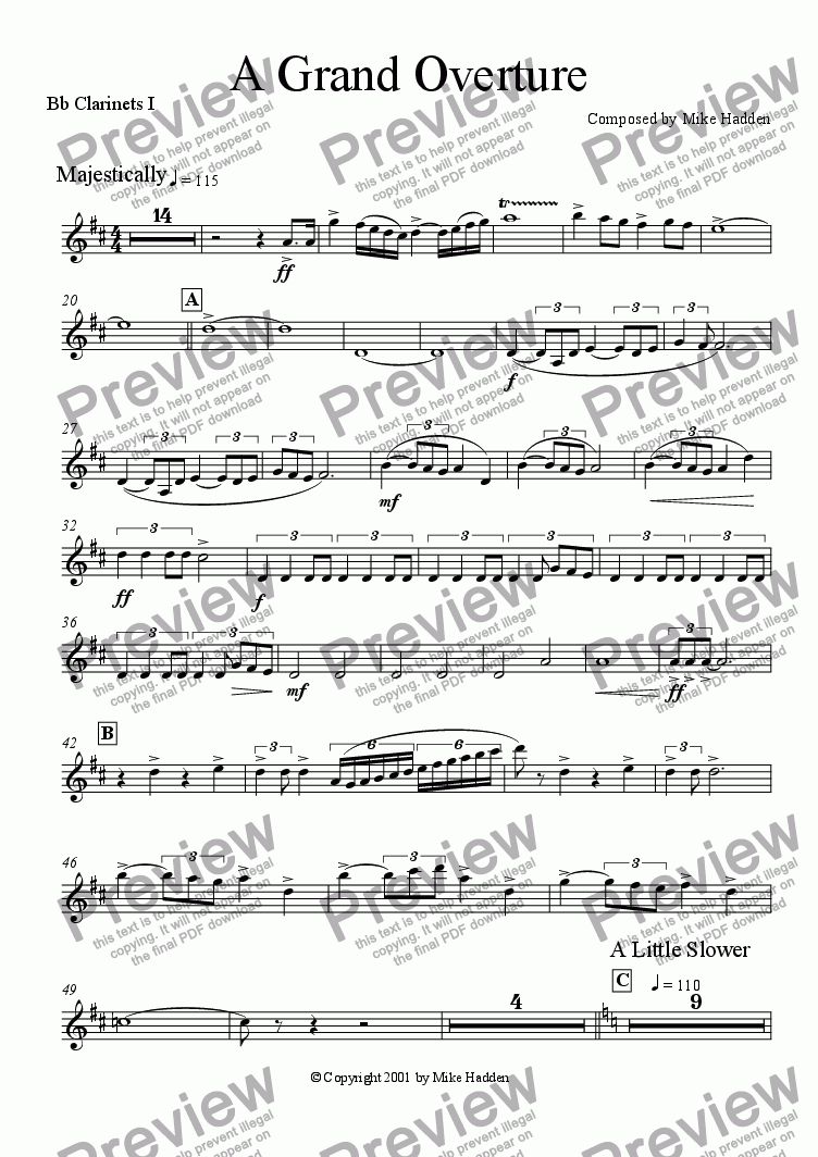 page one of the Clarinets I part from A Grand Overture