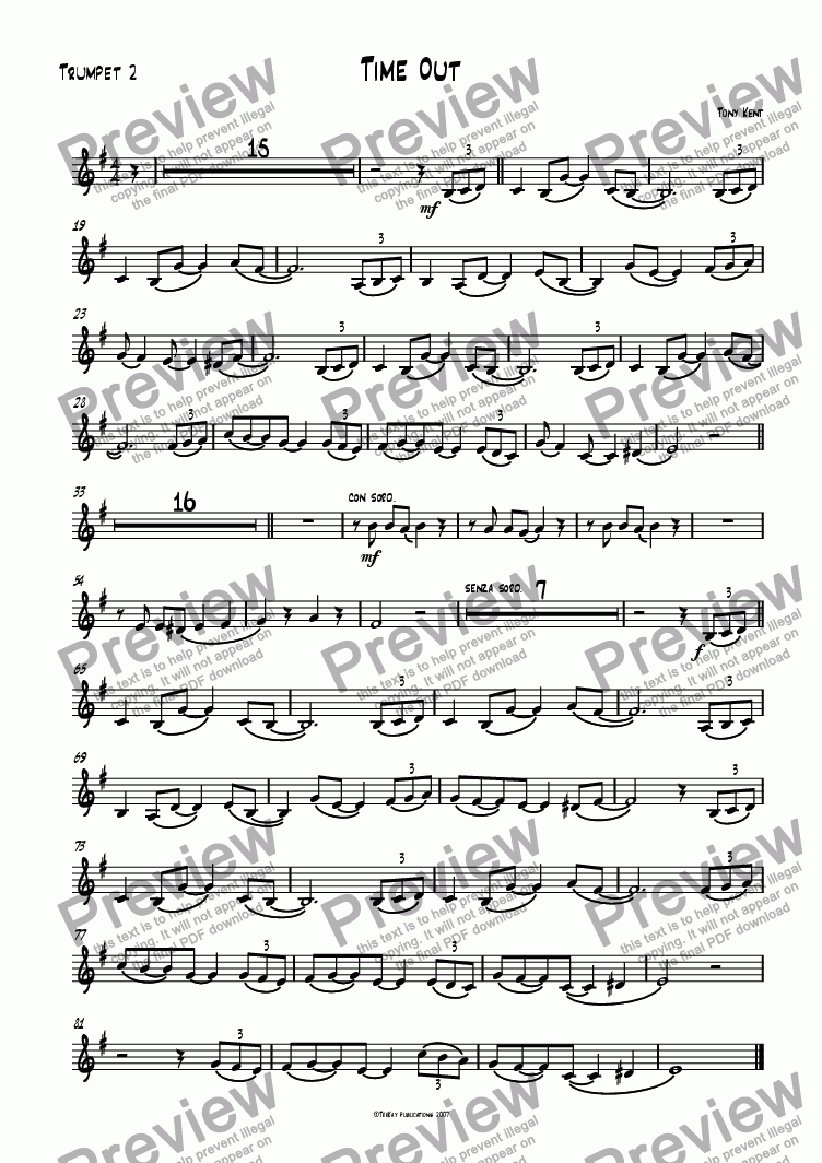 page one of the Trumpet 2 part from Time out