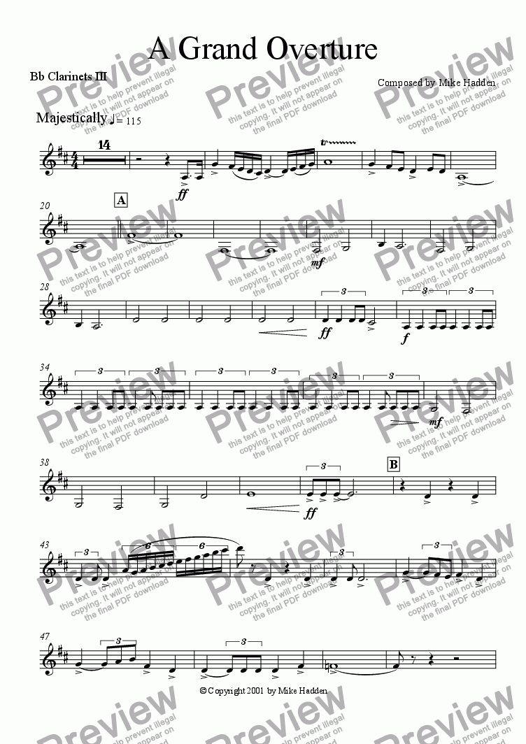 page one of the Clarinets III part from A Grand Overture