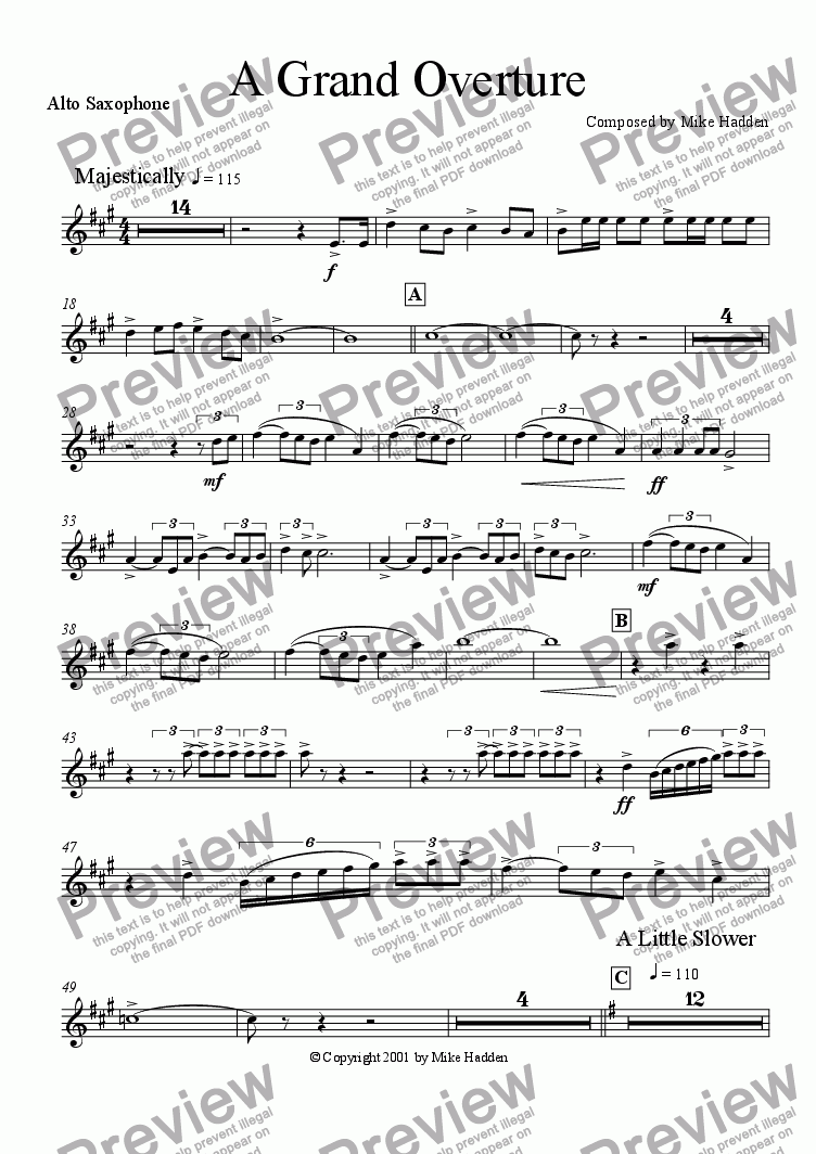 page one of the Alto Sax part from A Grand Overture