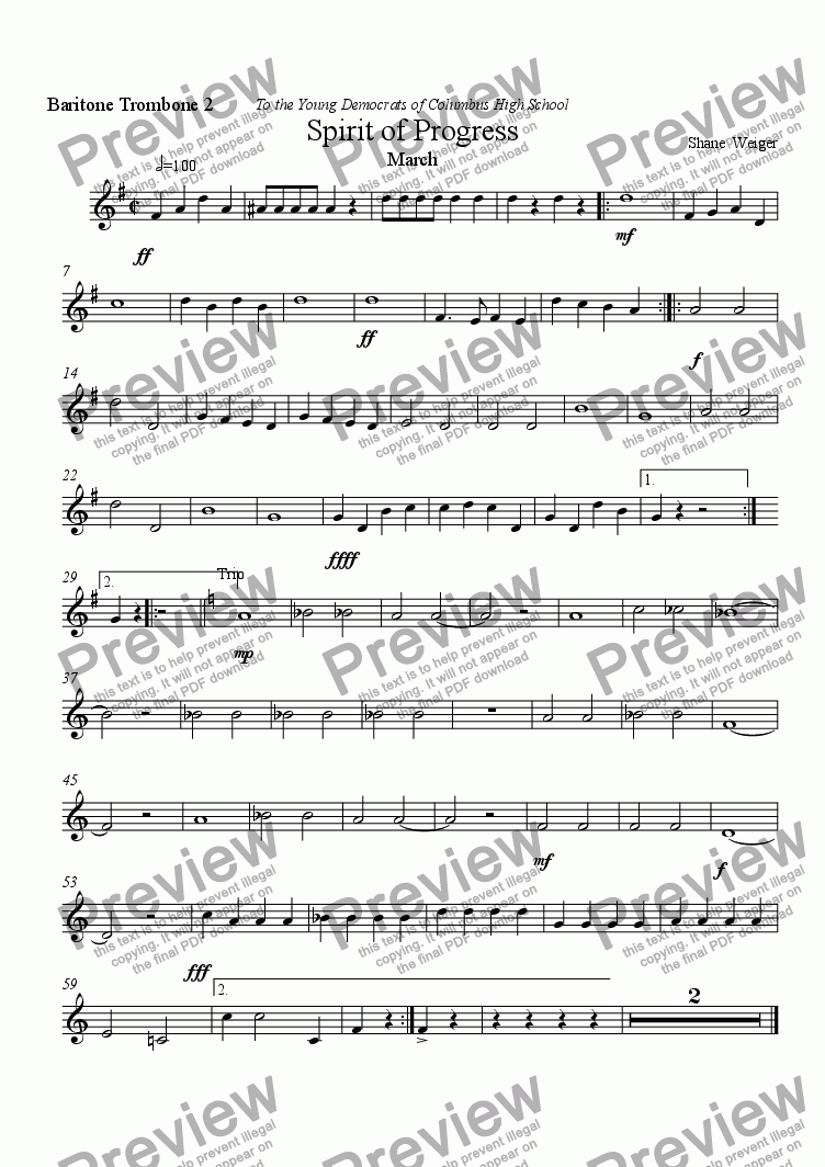 page one of the Baritone part from Spirit of Progress march