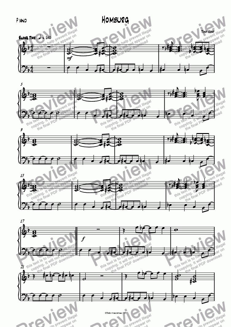 page one of the Piano part from Homburg