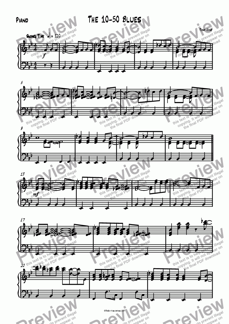 page one of the Piano part from 10-50 Blues