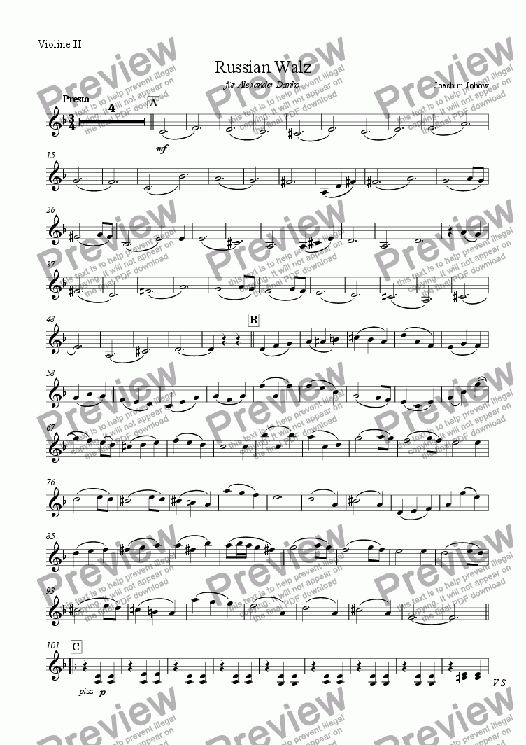 page one of the 2. Vl part from Orchester-Musette 02 (Russian Walz)
