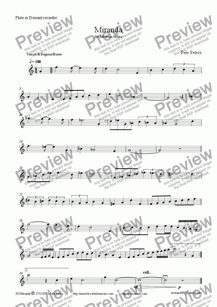 page one of the Solo inst (Flute) part from Miranda [mixed Latin group]