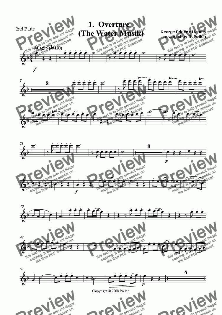 page one of the 2nd Flute part from Water Music [Suite: 5 movements]
