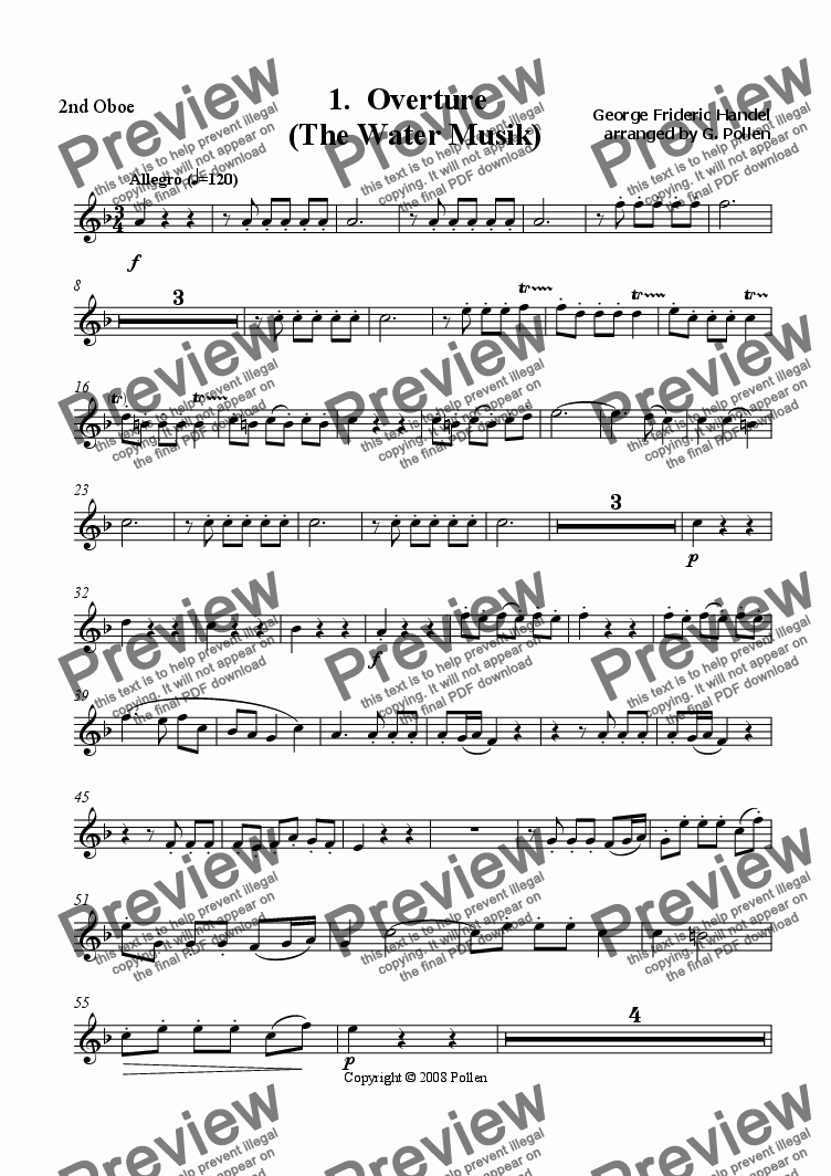 page one of the 2nd Oboe part from Water Music [Suite: 5 movements]