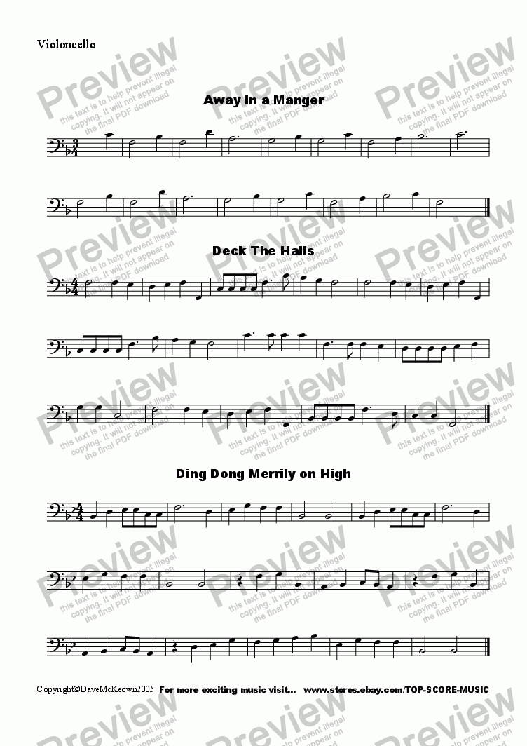 page one of the Violoncello 4 part from  20 Favourite Christmas Carols for String Quartet