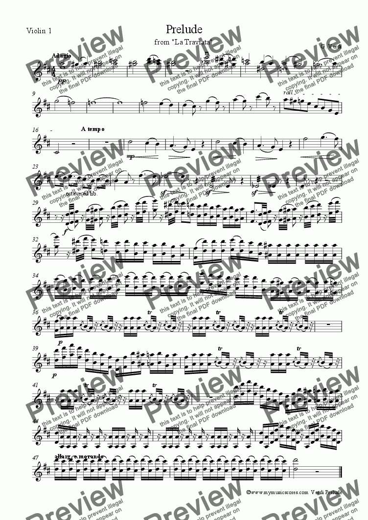 "page one of the Violin 1 part from Verdi Prelude from from ""La Traviata"" for String Orchestra"