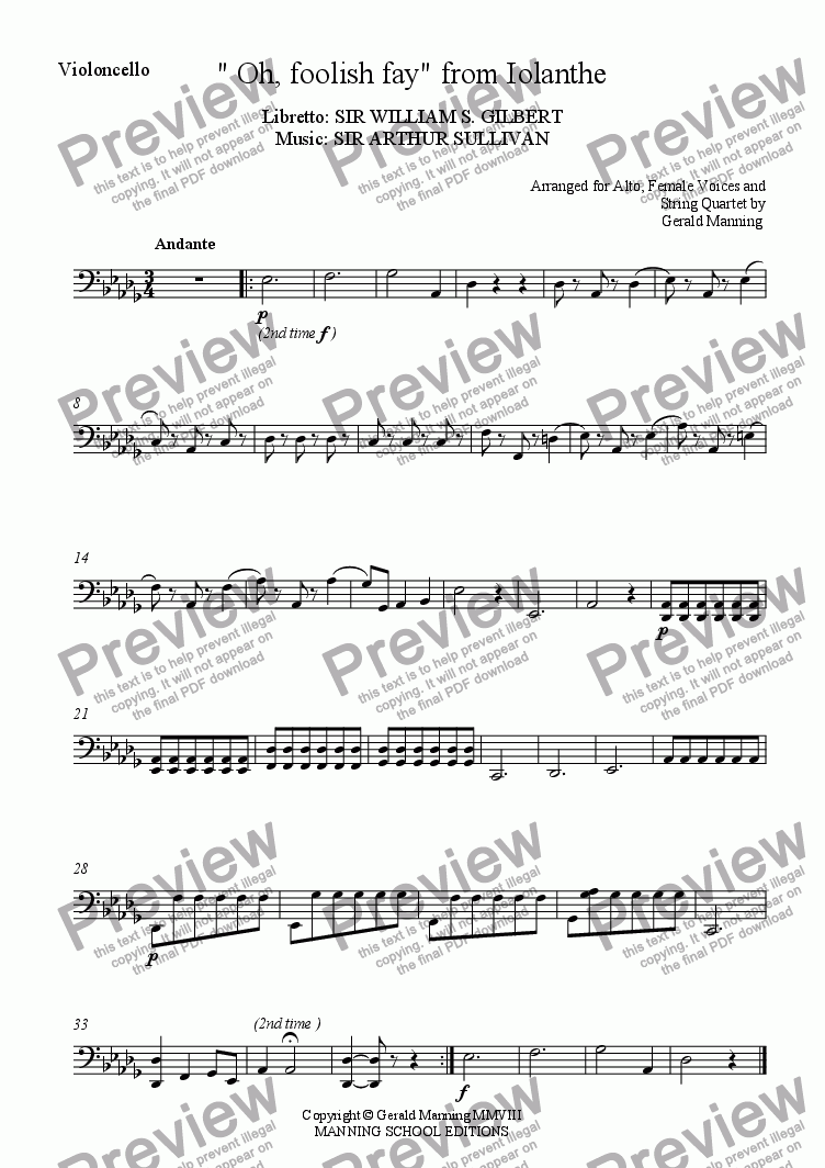 "page one of the Violoncello part from Gilbert & Sullivan - Songs from the Savoy Operas - "" Oh, foolish fay "" - from Iolanthe - arr. for Voices & String Quartet by Gerald Manning"