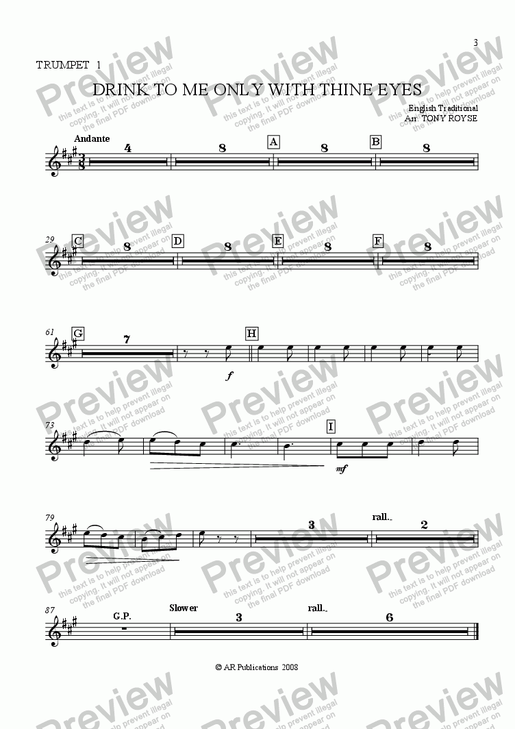page one of the Trpt. 1 part from Drink To Me Only With Thine Eyes for School Orchestra