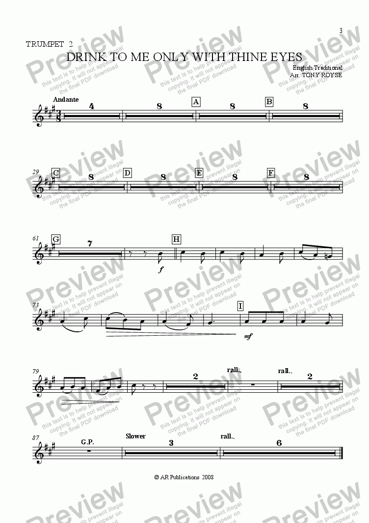 page one of the Trpt. 2 part from Drink To Me Only With Thine Eyes for School Orchestra