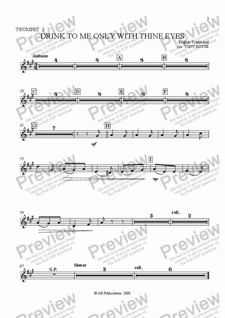 page one of the Trpt. 3 part from Drink To Me Only With Thine Eyes for School Orchestra