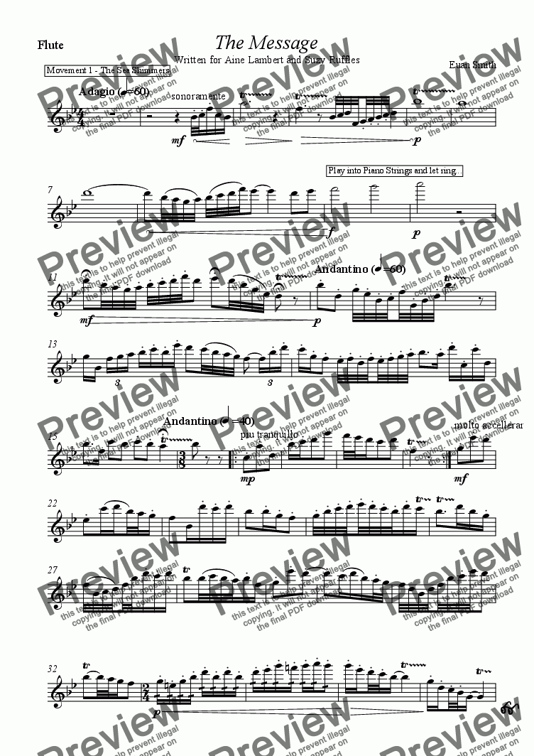 page one of the Flute part from The Message