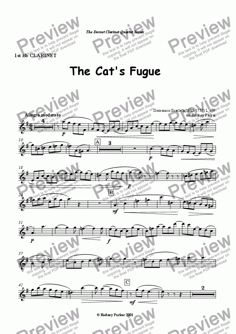 page one of the 1st Bb Clarinet part from The Cat's Fugue