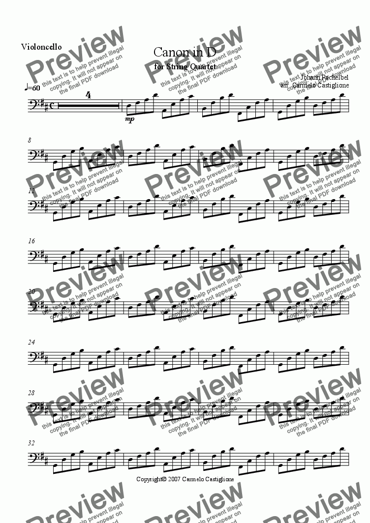 page one of the Violoncello part from Canon in D