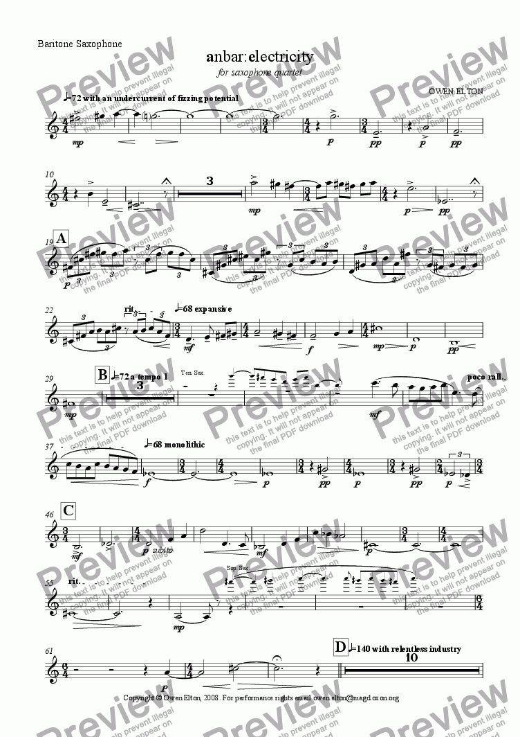 page one of the baritone sax part from anbar:electricity