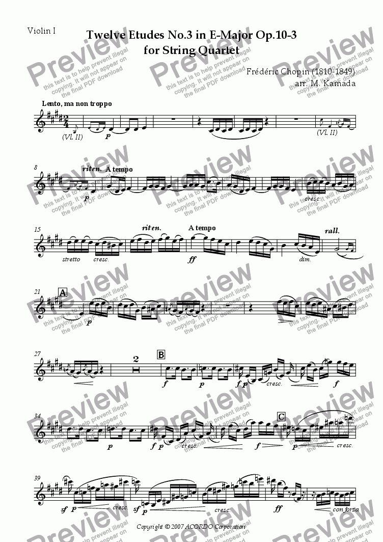 page one of the Violin I part from Twelve Etudes No.3 in E-Major Op.10-3 for String Quartet