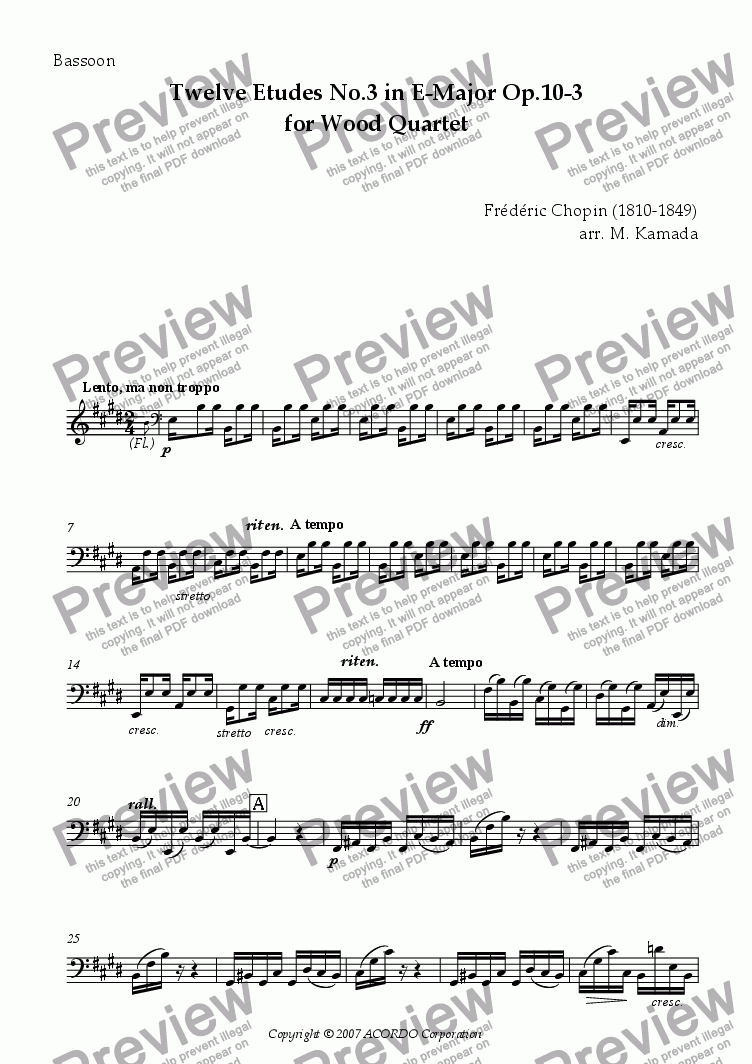 page one of the Bassoon part from Twelve Etudes No.3 in E-Major Op.10-3 for Wood Quartet