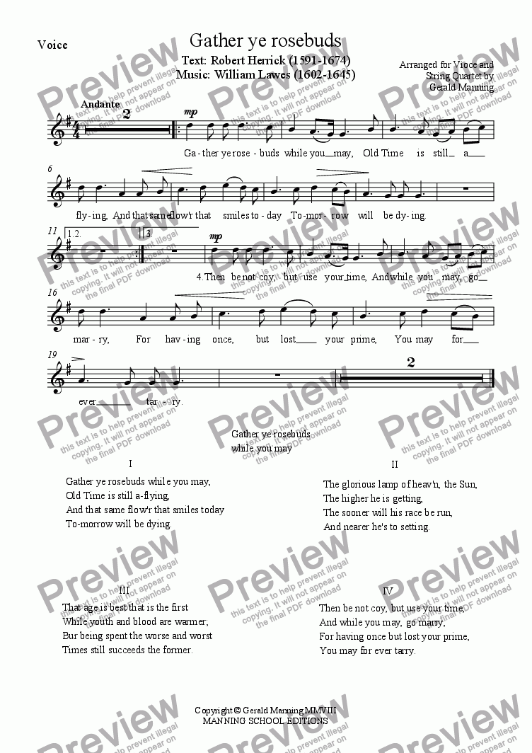 page one of the Voice part from English Song: Lawes, W - Gather ye rosebuds - arranged for Voice & String Quartet by Gerald Manning