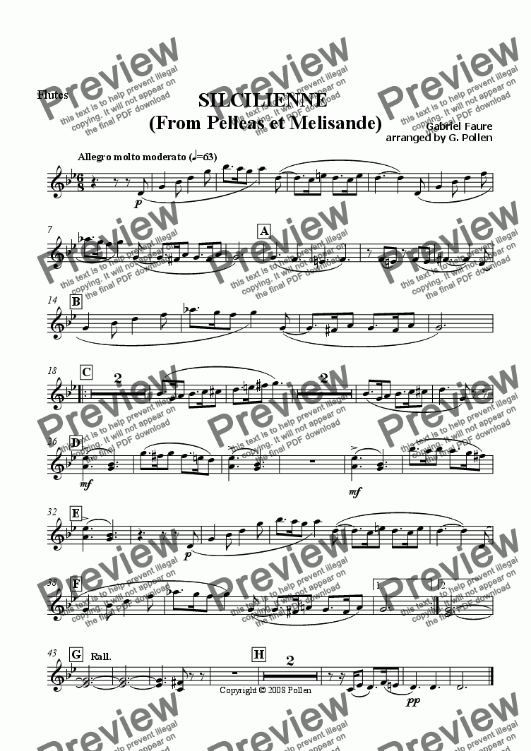 page one of the Flutes part from Scicilienne [Pelleas & Melisande] Op. 80
