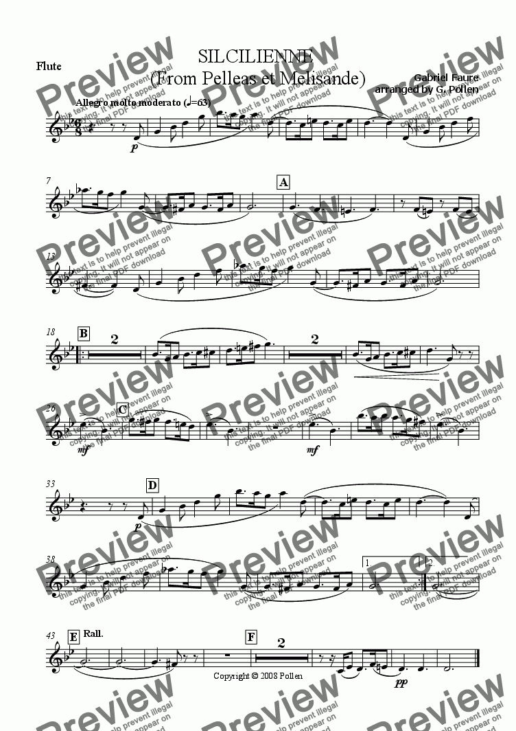 page one of the Flute part from Scicilienne [Pelleas & Melisande] Op. 80 (CB)