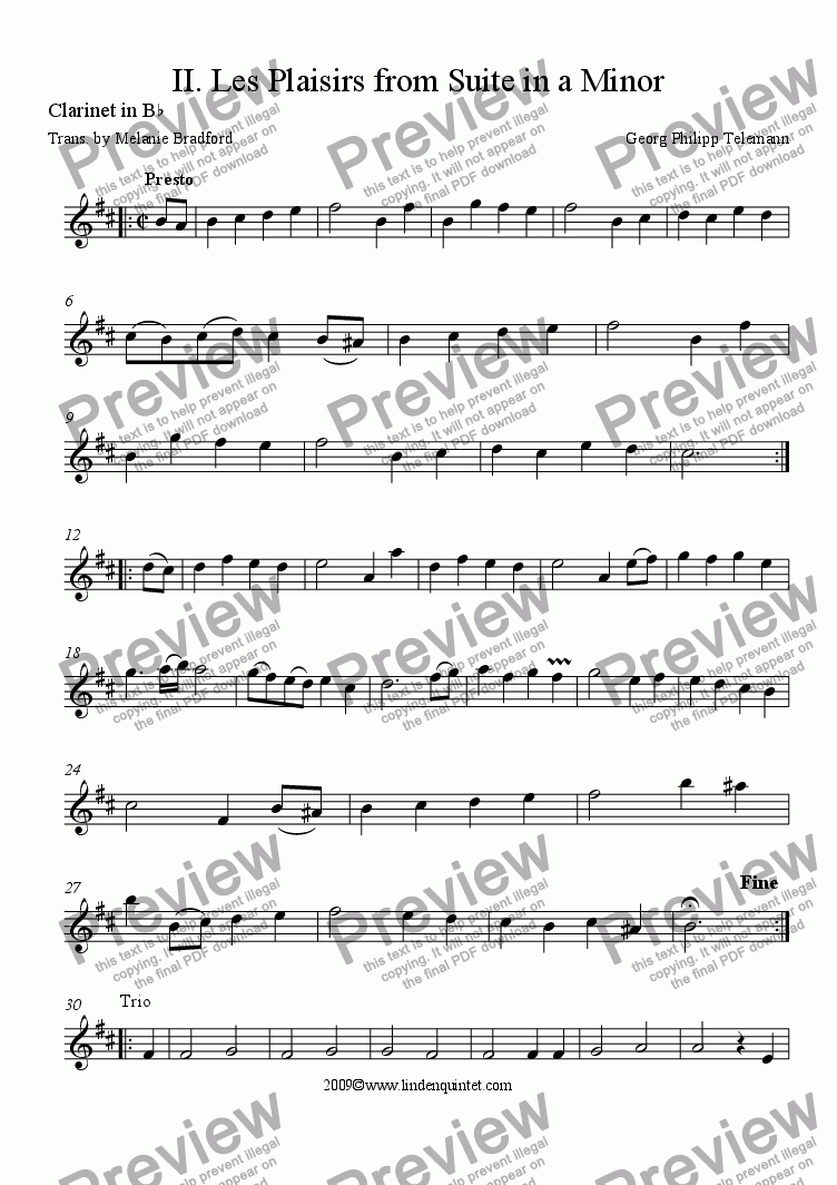 page one of the Clarinet part from Telemann - Suite in a Minor No. II Les Plaisirs