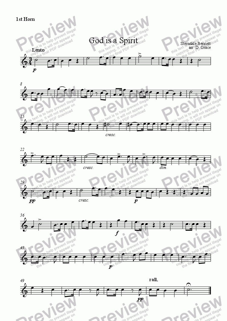page one of the 1st Horn part from God is a Spirit [Sterndale Bennett]